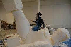 Sculpture of a big ´female fighter` for artist Ellen Sturm