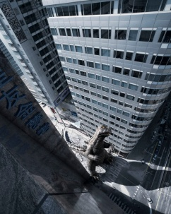 Miniature Godzilla and street I made for a Fortis Bank/Asia campaign, photography by Jaap Vliegenthart